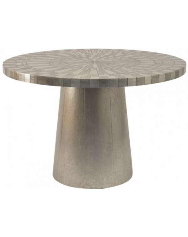 Libra Coco Sliver Embossed Metal 4  Seater Round D...